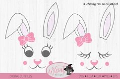 Easter Bunny face svg, Girl bunny face svg, cut file Product Image 3