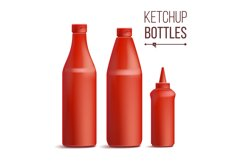 Tomato Ketchup Bottle Set Vector. 3D Realistic Blank. Product Image 1