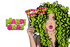 Pop art curly hair woman hold mask Mardi Gras wow face Product Image 1