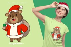 Santa Claus Grizzly With Sack Illustration For T-Shirt Product Image 1