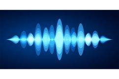 Abstract sound wave. Blue voice sounds waveform spectrum, mu Product Image 1