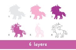 3D Layered Unicorn for Kids. Cut files Product Image 2