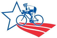 Cyclist riding racing bike star and stripes Product Image 1