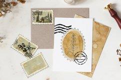 Postage stamp, postmark, watercolor clipart, envelope design Product Image 4
