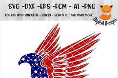 Patriotic Eagle SVG - png - eps - dxf - ai - fcm - Patriotic SVG - Silhouette - Cricut - Scan N Cut - Anchor SVG -  Stars and Stripes SVG Product Image 1