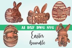 Layered Easter bundle 3d svg dxf Multi layer mandala easter Product Image 1