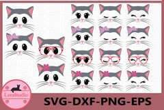 Cat Face SVG, Animal face svg, Cat Eyelashes Face, Cat SVG Product Image 1
