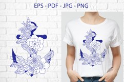Anchor with doodle flowers Product Image 1