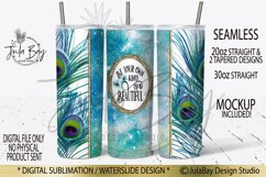 20oz Skinny Tumbler Sublimation PNG Peacock Feathers Inspire Product Image 1