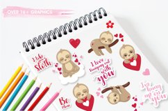 Valentine sloths graphics and illustrations Product Image 2