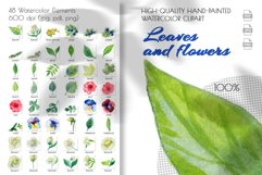 Watercolor clip art. Violet, primrose, juniper, tree leaves Product Image 2