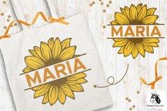 Sunflower SVG Clipart Floral SVG Sunflower Monogram Split Product Image 3