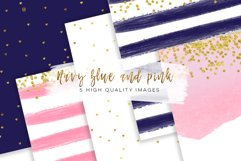 Navy, Blue and Pink Digital Paper pack Product Image 1