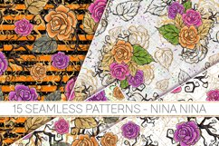 Halloween Flowers Seamless Patterns, Roses Digital Papers Product Image 2