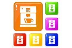 Coffee machine icons set vector color Product Image 1