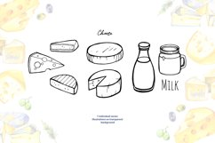 Milk and cheese - watercolor clipart Product Image 3