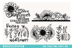Sunflower and Wildflower SVG Bundle   Floral Line Art Product Image 3