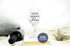 Plain Background Stemmed Wine Glass mockup PSD, Glass mockup Product Image 4