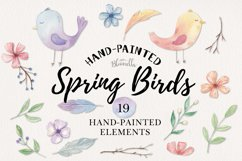 Spring Birds Easter Flower Watercolor 19 Elements Floral Product Image 1