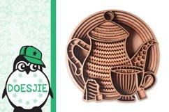 Tea cup tea pot 3D layered svg tea mandala Product Image 3