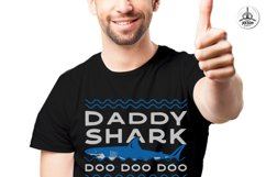 Retro Daddy Shark Print / Fathers Day T-Shirt, Family SVG Product Image 5