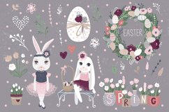 Happy Easter. Bunnies, eggs, flowers Product Image 2