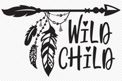 Wild Child SVG, Cut File, Tribal Arrow, Hippie Feathers Product Image 2