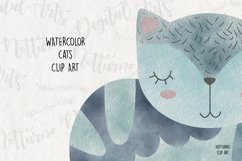 Watercolor Cat Clipart. Set of 10 png digital clipart Product Image 4