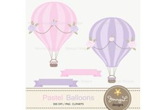 Pastel Pink Hot Air Balloons Digital papers and Clipart Product Image 2