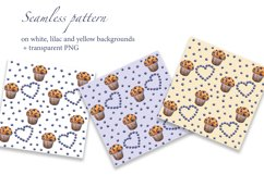 Blueberry Muffin. Watercolor pattern and card, JPG, PNG Product Image 2