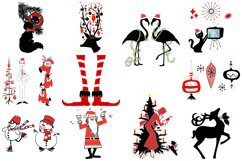 Retro Mid Century Black and Red Christmas AI EPS PNG Product Image 2