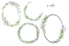 Greenery Lavender Wedding Watercolor Clip Art Illustrations Product Image 2