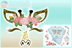 Giraffe Face with Roses Svg Dxf Eps Png Pdf Files Product Image 1