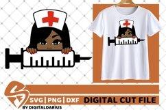 Black Nurse svg, Stethoscope svg, Peeking girl svg, Melanin Product Image 1
