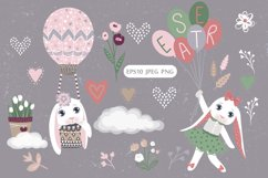 Happy Easter. Bunnies, eggs, flowers Product Image 4
