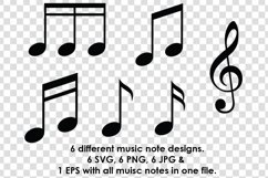 Music Note Silhouette SVG Clipart Bundle Product Image 2
