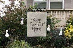 Yard Flag Mockups for Halloween, White & Burlap Flag Mock-Up Product Image 5