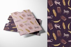Seamless watercolor pattern with tropical leaves and cats Product Image 6