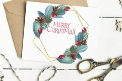 Watercolor Merry Christmas Golden Geometrical Frame Product Image 4