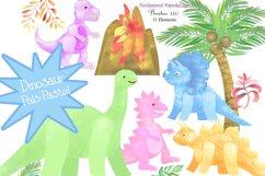 Watercolor Dinosaur Clipart, Sublimation PNG, Transparent Product Image 1