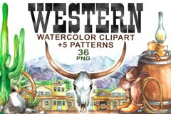 Watercolor Western Clipart Product Image 1