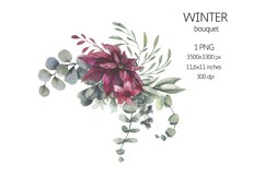 Watercolor Winter Floral Bouquet Product Image 1