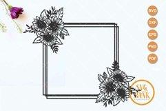 Square sunflower frame SVG, Wedding invitation frame Product Image 2