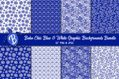 Boho Chic Blue and White Graphic Background Digital Papers Product Image 1