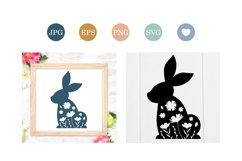 Easter Bunny silhouette with flowers, cut file Product Image 1