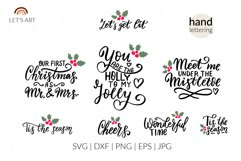Romantic Christmas wishes svg. Mistletoe, Mr and Mrs svg Product Image 1