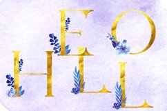 Gold letters with watercolor elements,Gold letters clipart Product Image 2