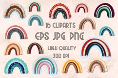 Boho Rainbow Clipart |rainbow PNG, SVG | Planner stickers Product Image 2