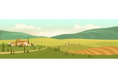 Autumn natural scenery flat color vector illustration Product Image 1