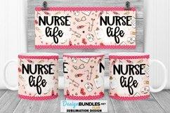 Pink Nurse Life Mug Wrap PNG Sublimation | Mug Wrap PNG Product Image 1